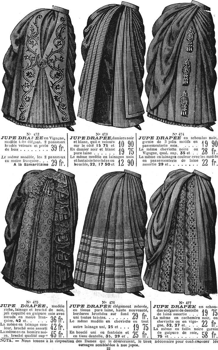 1886 Catalog page of skirts