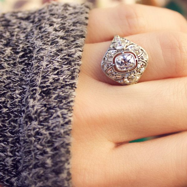 angelina unique vintage engagement ring with an old mine