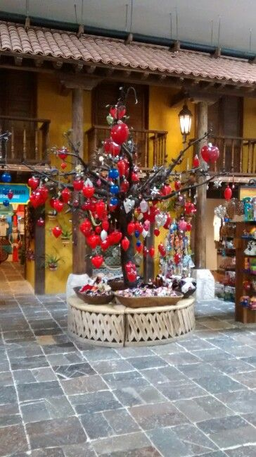 Blown glass hearts tree