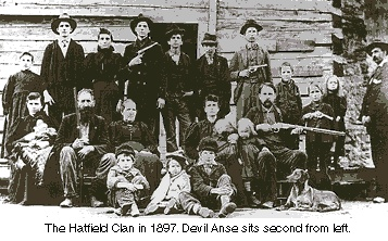 The Hatfield Clan in 1897. Devil Anse sits seconds from left.