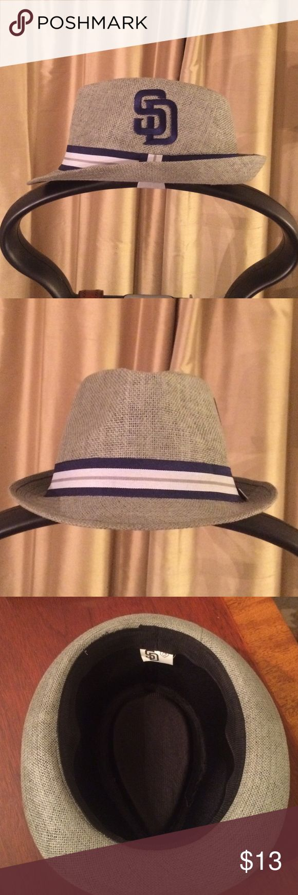 San Diego Padres Light Grey Fedora San Diego Padres Fedora! Light gray with navy white and grey accents. Size 7 3/8. In very good shape! Thanks for looking! Accessories Hats