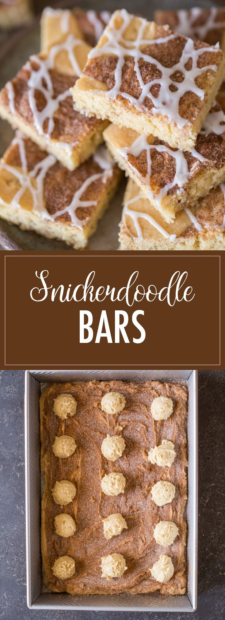 These Snickerdoodle Bars taste just like the classic cookies we all love, but come together much more quickly and are topped with a delicious vanilla glaze!