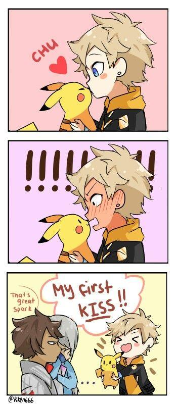 ♥ Boy... Spark... Pokémon... Pokémon GO!... Pikachu... Chu Kiss... Funny... Anime ♥