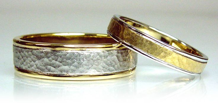 Chibnalls custom made Hammer finish his and hers wedding rings in 18ct yelow and white gold.