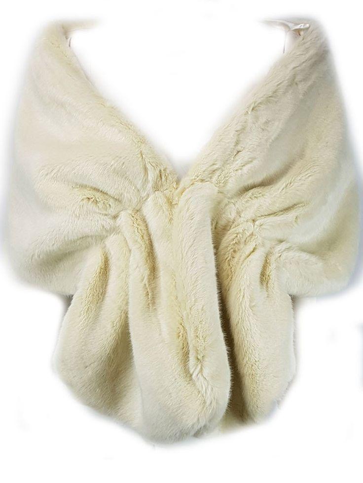 Xiamo Ivory Faux Fur Shawl