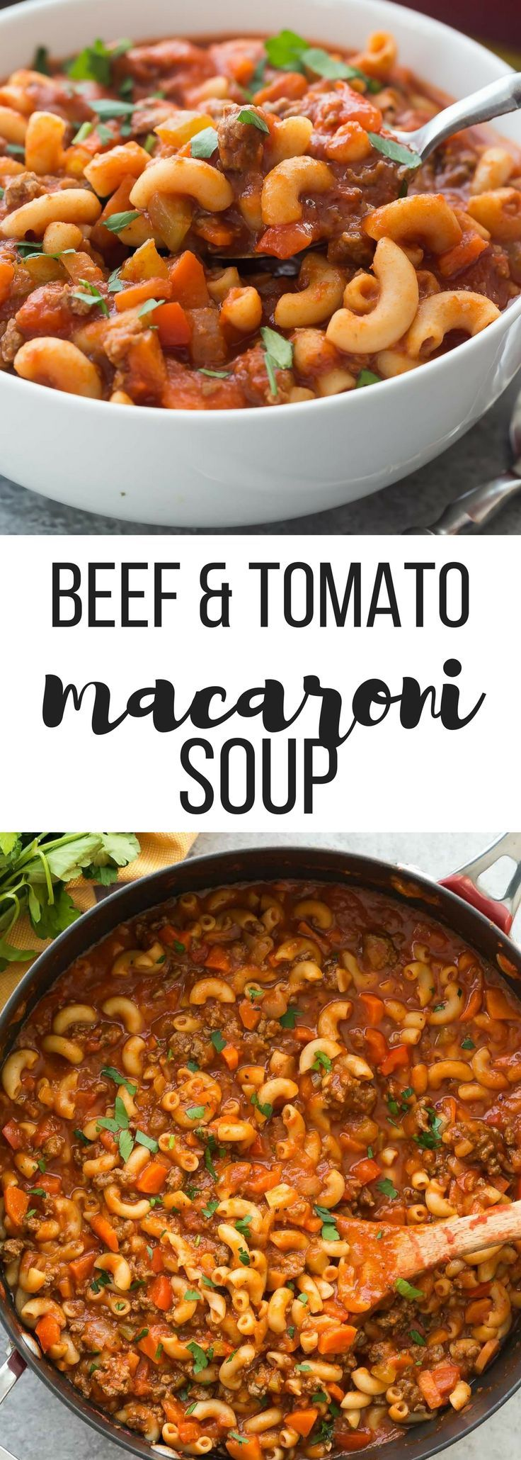 This One Pot Beef and Tomato Macaroni Soup is a classic! It's a healthy, one pot meal made in 30 minutes or less and loaded with vegetables. Includes how to recipe video   dinner recipe   easy soup recipe   healthy recipe   30 minute meal   one pot meal