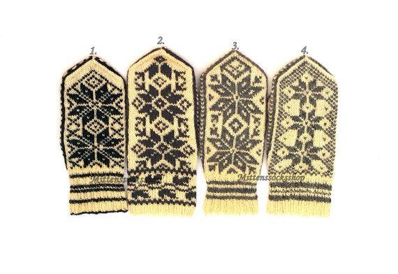 Nordic Mittens Hand Knitted Wool Mittens Scandinavian Gloves