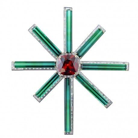 Garnet, tourmaline and diamond brooch by James Taffin de Givenchy.