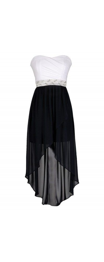 Washed Ashore Embellished Waist Navy and Ivory High Low Dress  www.lilyboutique.com