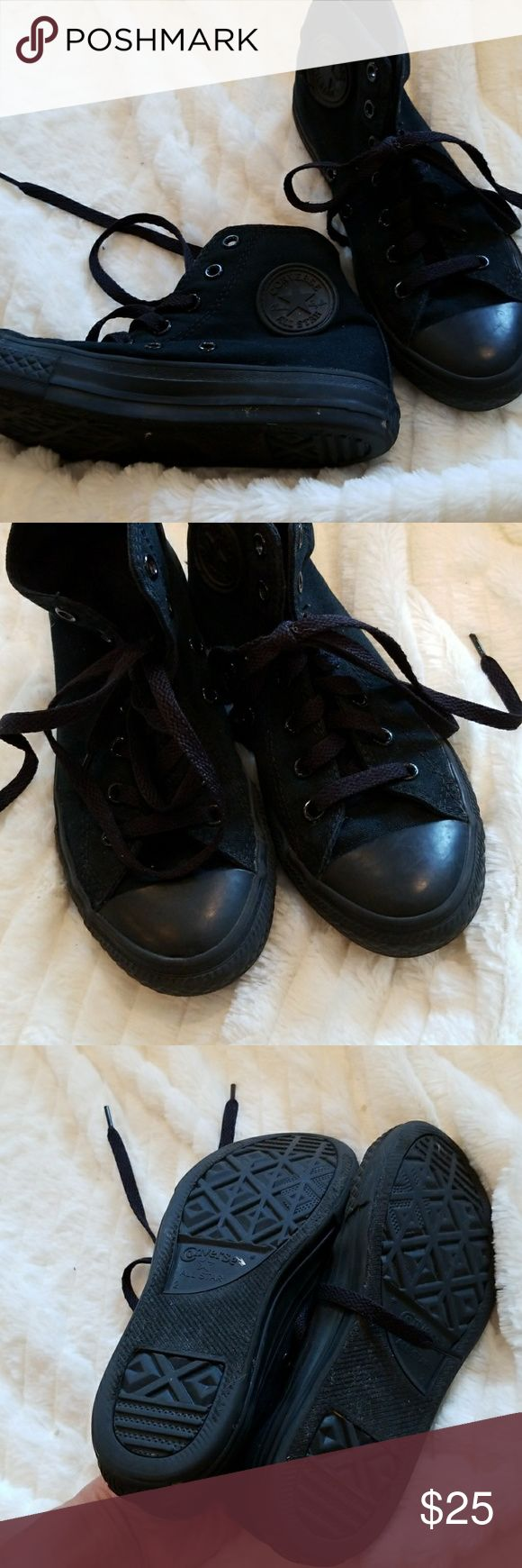 CONVERSE ALL BLACK HIGH TOPS-Unisex Excellent cond Worn very little and in excellent condition. All black high tops for girls or boys. Converse Shoes Sneakers