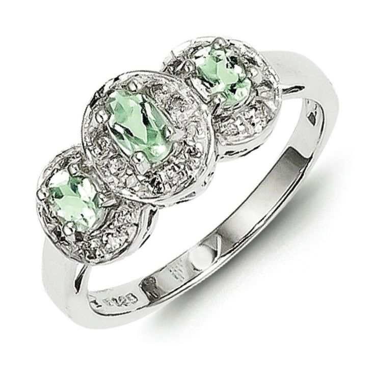Sterling Silver Rhodium Green Amethyst and Diamond Ring - Size 8. Made in Thailand. Arrives ready for gifting. Free gift packaging included. Shop with confidence. West Coast Jewelry has been a trusted seller for over 10 years and is dedicated to excellent customer service. Your satisfaction is 100% guaranteed.