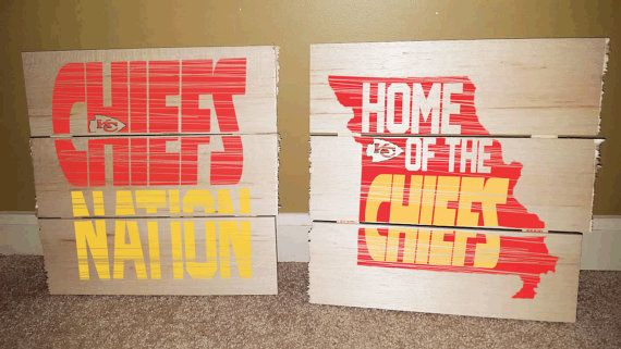 Check out this item in my Etsy shop https://www.etsy.com/listing/247847797/kansas-city-chiefs-football-rustic