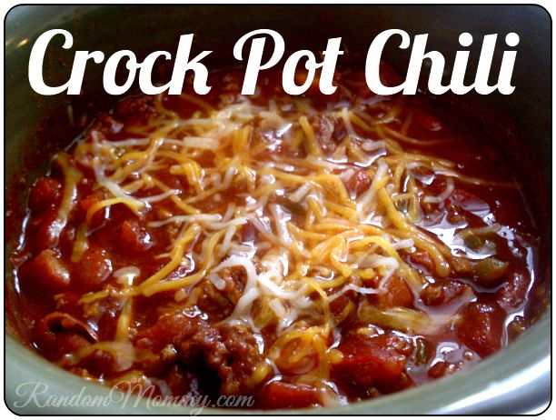 Crock Pot Chili. I added some red pepper flakes to make it more spicy since hubby likes things on the spicy side and it was pretty tasty!
