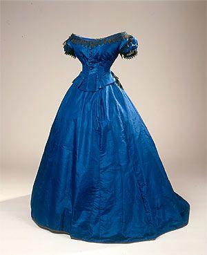evening dress 1860's. What a pretty blue!