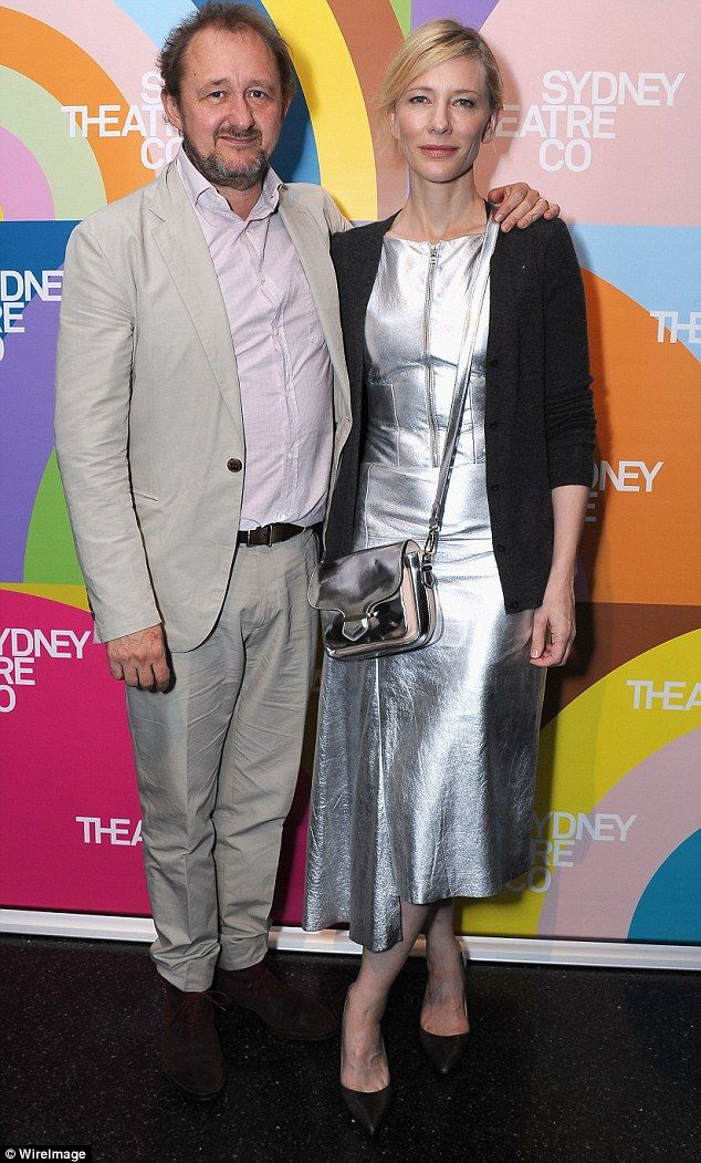 Unique style: Cate Blanchett sported a silver metallic dress to attend the opening night of King Lear with her husband Andrew Upton at Sydney's Theatre Company on Saturday