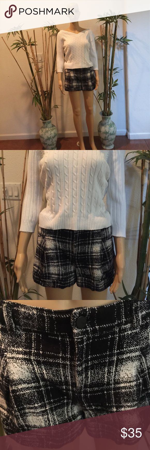 Mango shorts size 6 &  Faded Glory knitted blouse Used medium-sized Faded Glory blouse. Shorts not used at all. Both machine washable. Free neck accessory included!!! Mango Shorts Skorts