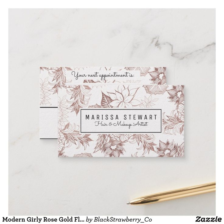 Modern Girly Rose Gold Floral Appointment Card AD-This modern and girly faux printed rose gold floral hand drawn illustrations print , appointment card is perfect for the trendy and stylish business owner. This fashionable and professional looking card is the perfect way to show your customers you care about their business. Customize this card for any business, just edit the text and add your own personal details.