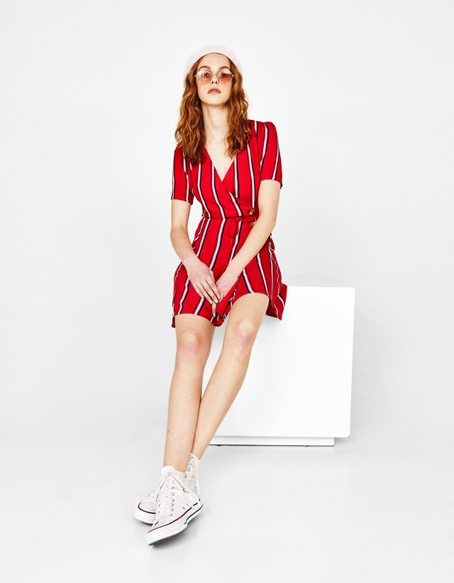 12d93e46b7af V neck button dress - Bershka  fashion  product  newin  trend  trendy   jumpsuit  dress  summe  spring  cool  girl