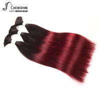Joedir Pre-colored Human Braiding Hair Bulk 3 Bundles Deal No Weft Brazilian Straight Hair Remy Human Hair Bundles Ombre 99J