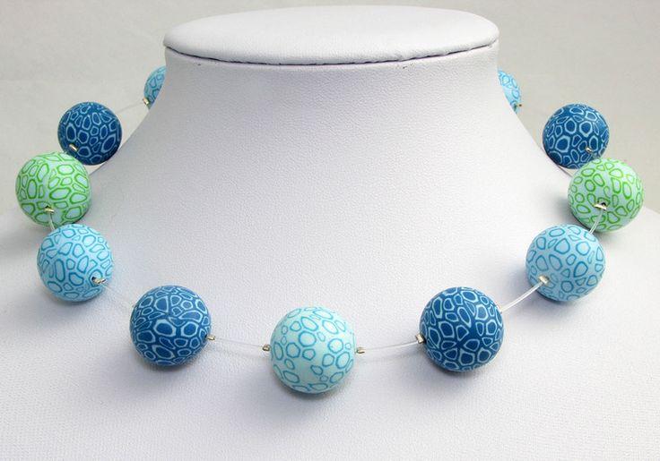 Wassertropfen Halskette Polymer clay Kunst Fimo  von Künstler-Perlen und Schmuck aus Polymer clay und Fimo auf DaWanda.com