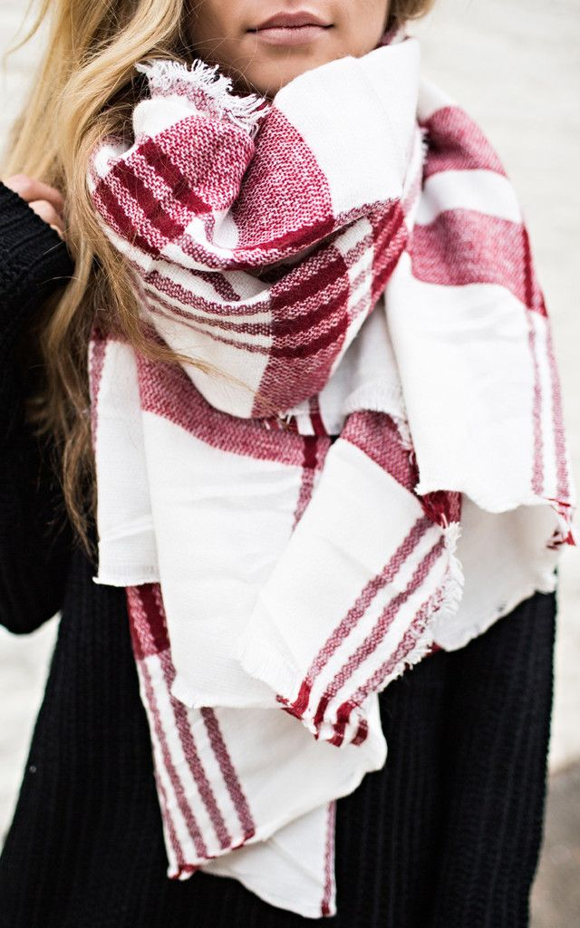 Red plaid blanket scarf - take 20% off with code: LASTCHANCE