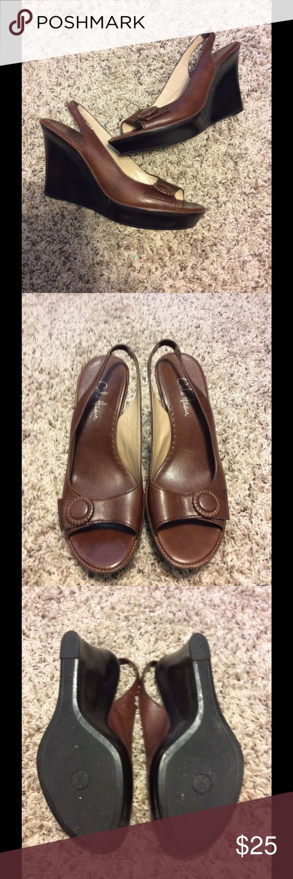 Brown Cole Hann wedges Brown Cole Hann wedges---like new condition Cole Haan Shoes Wedges