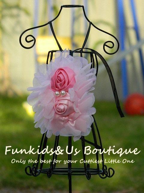 Pink Rose Flower headband Flower Girl Pink by FunkidsandUsBoutique, $6.84