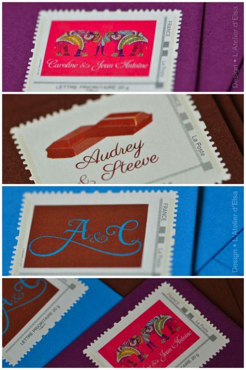 #timbre #mariage #stamp #wedding latelierdelsa.com creation sur mesure timbre personnalisé