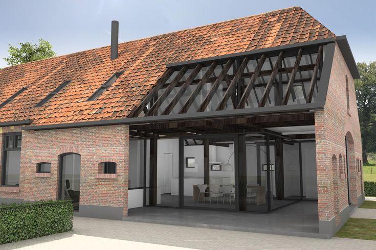 Architektenzeichnung für einen zeitgenössischen Glasausbau mit Sichtholz – Maas …
