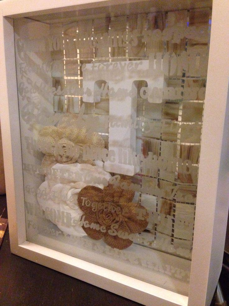 Housewarming Gift Shadow Box Frame Wooden Monogram Letter Rustic Florals Martha Stewart Glass