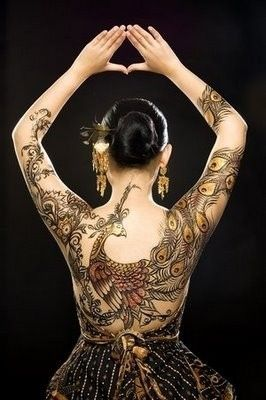 Hot Girl With Back Tattoo - paisley and peacock body art Tattoos