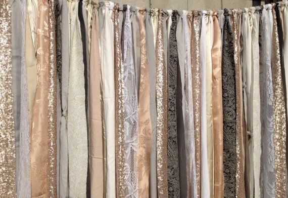 Grey Nude Champagne Sequin Backdrop Wedding Garland -  Bling Sparkle -  Baby Shower, Nursery - 4ft x 6ft