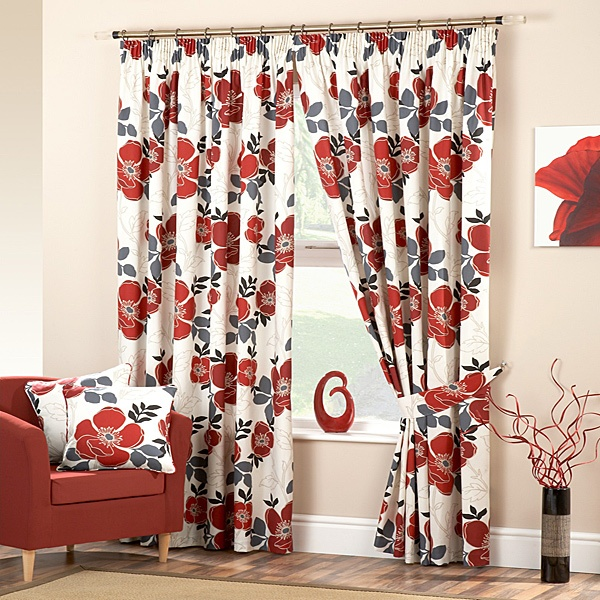 Darina Floral Print Poppy Curtains Curtains With Blinds