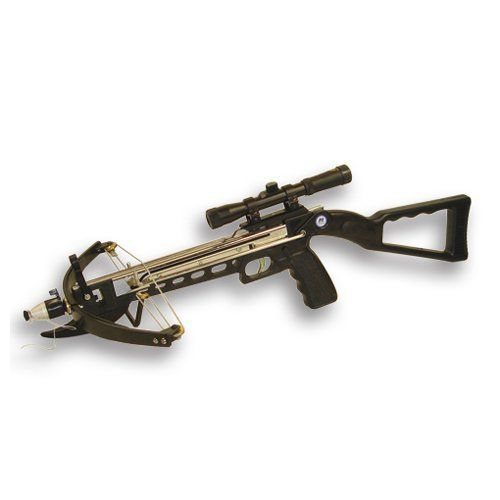 NcStar Crossbow with Scope (CS) by NcStar. $44.88. Amazon.com                The NcSTAR junior crossbow with 4x20 scope is a durable, affordable way to introduce aspiring archers to the excitement of a crossbow. The lightweight, five-pound bow has a 100-pound draw weight and 200-foot effective range, fast loading and recovery, and a convenient built-in compass.  What's in the box?  NcSTAR crossbow 4x20 scope with 20-millimeter multi-coated lens Ten 6.25-inch arrows T...