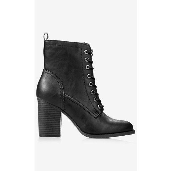 express lace up heeled boot 70 liked on polyvore