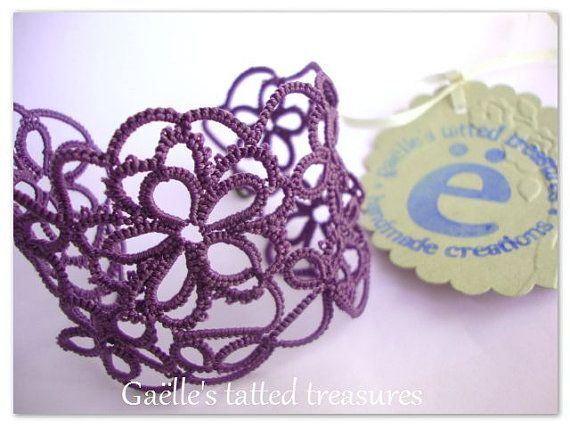 Gaëlle's original design 'Tat-too' hand tatted bracelet. Customizable, choose your coloru, in my Etsy shop