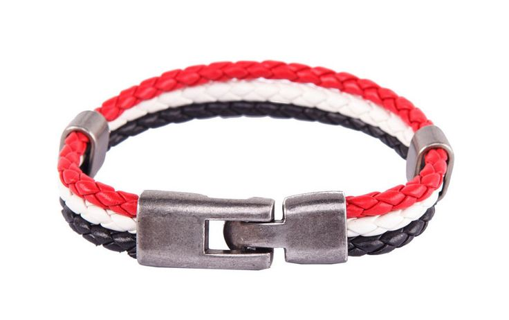 Men's Tri-Colour Rope Leather Wristband by 24:01. Simple wristband made from synthetic leather, hook fastening, hook fastening, non adjustable strap, diameter 6.5 cm , cool wristband for everyday accessories. http://www.zocko.com/z/JJN6G
