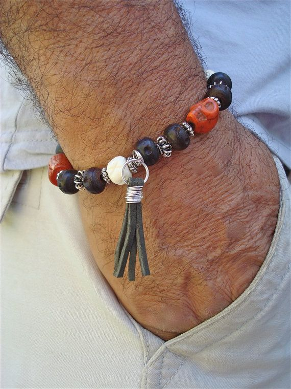 Men's Bracelet with Terracotta Jasper and Hand by tocijewelry, $42.00