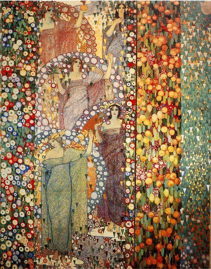 Galileo Chini (1914) La Primavera che perennemente si rinnova, Tecnica mista su tela (4 metri in altezza), Montecatini, Accademia d'Arte Scalabrino