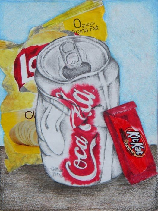 collage still life: cans & wrappers
