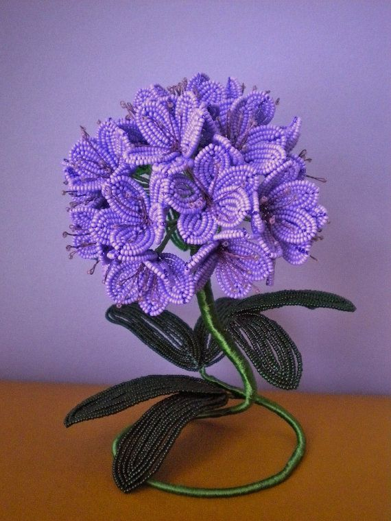 Rhododendron French Beaded Flower by copperglass on Etsy