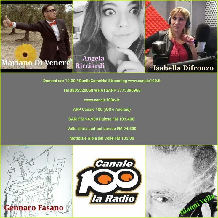 Domani ore 10.00 su www.canale100.it