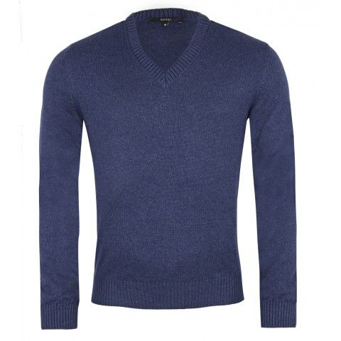 #Gucci Blue Wool & Silk V-Neck Sweater