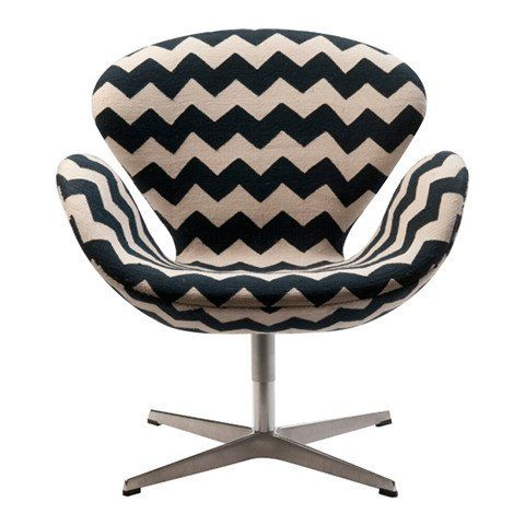 Midcentury Swan Chair in Black and White Zig Zag fabric | MADELINE WEINRIB - 1
