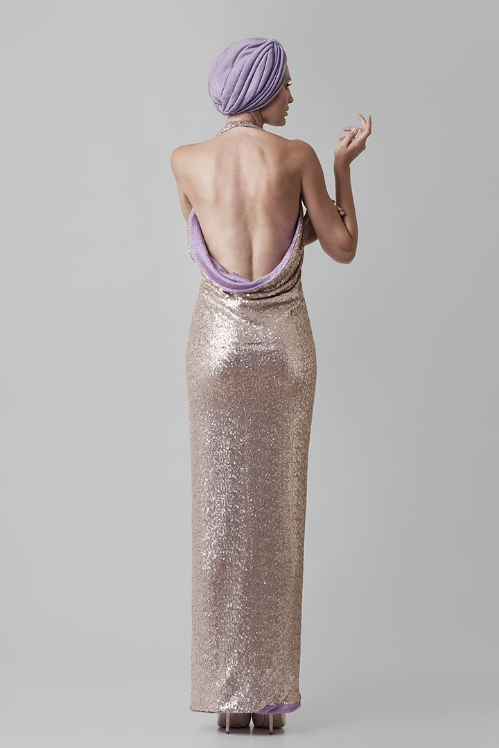 Fragile | @Nassos Ntotsikas Spring/Summer 2015 collection #NassosNtotsikas #SS2015 #GreekDesigner #Maxi #Dress  #FashionDesigner #Gold #Lilac #KnitYourDreams #Backless