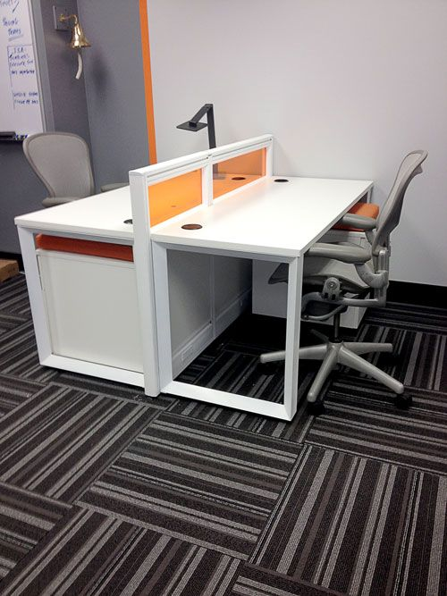 we custom designed to with modern colors and clean lines using our emerald cubicle system modern office