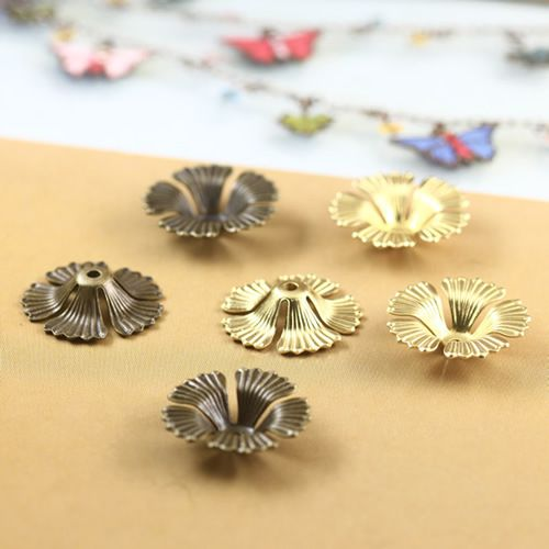 Античная бронзовая/оригинальный латунь полые цветы филигрань обертывания разъемы медные ювелирные изделия 100 ШТ.