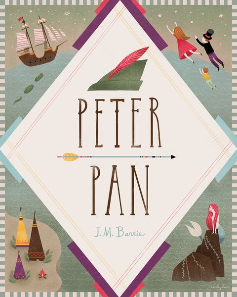 Peter Pan Art Print. Really digging the mermaid. ;)