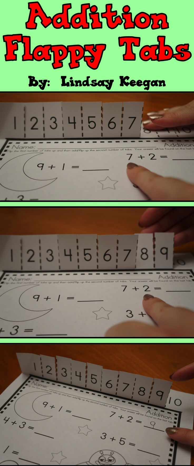 Addition Flappy Tabs - A fun way to visualize and manipulate addition facts.