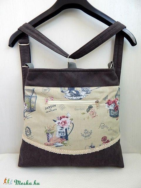 Anne - Provence Garden- sok zsebes variálható hátizsák, oldaltáska, válltáska, táska (annetextil) - Meska.hu